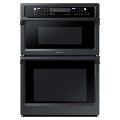 30 in. Electric Dual Convection and Steam Cook Wall Oven with Built-In Microwave in Black Stainless Steel