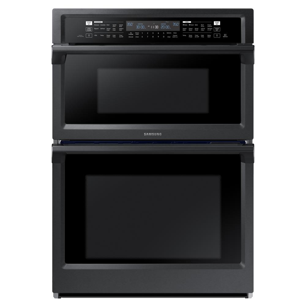 Samsung 30 in. Electric Steam Cook Wall Oven with Speed Cook Built-In Microwave in Fingerprint Resistant Black Stainless