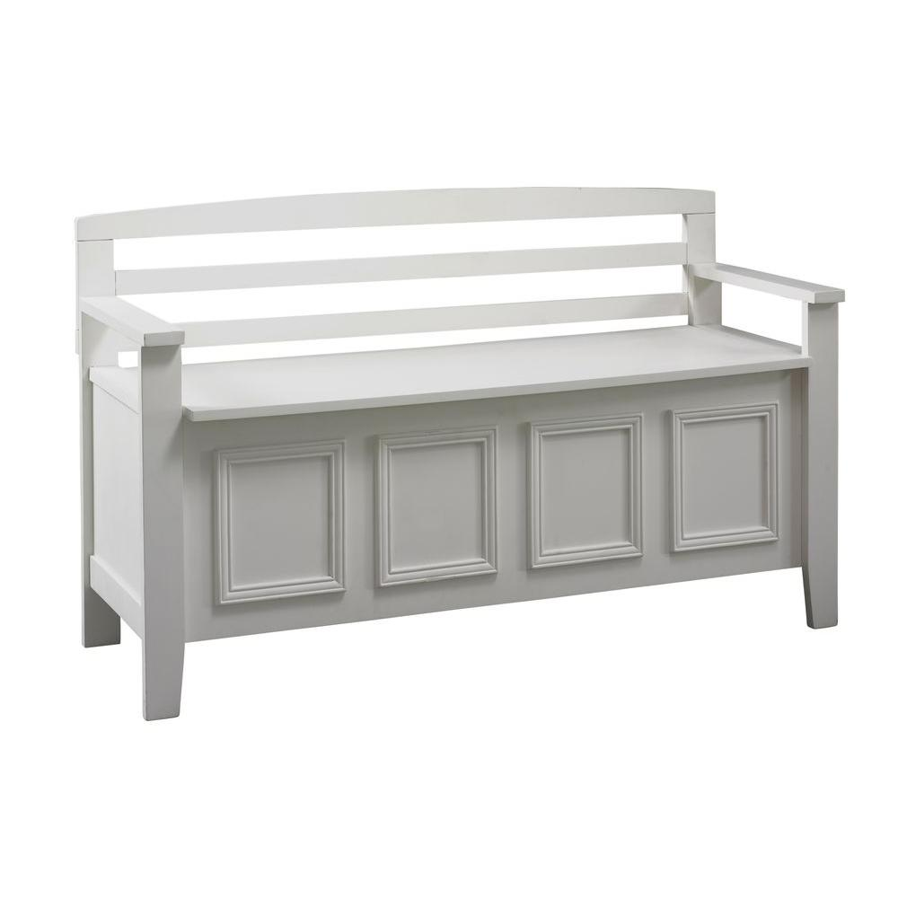 Linon Home Decor Laredo White Storage Bench 84016WHT 01 KD U   The Home  Depot