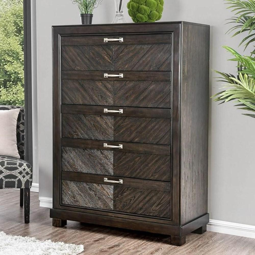 Argyros 5 Drawers Espresso Transitional Style Chest Of