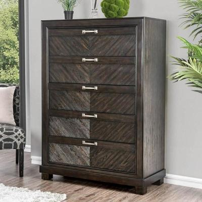 Argyros 5-Drawers Espresso Transitional Style Chest of Drawers