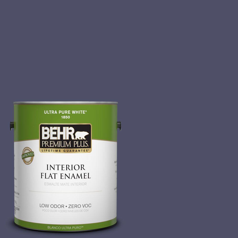 BEHR Premium Plus 1-gal. #640F-7 Academy Purple Zero VOC Flat Enamel Interior Paint-DISCONTINUED