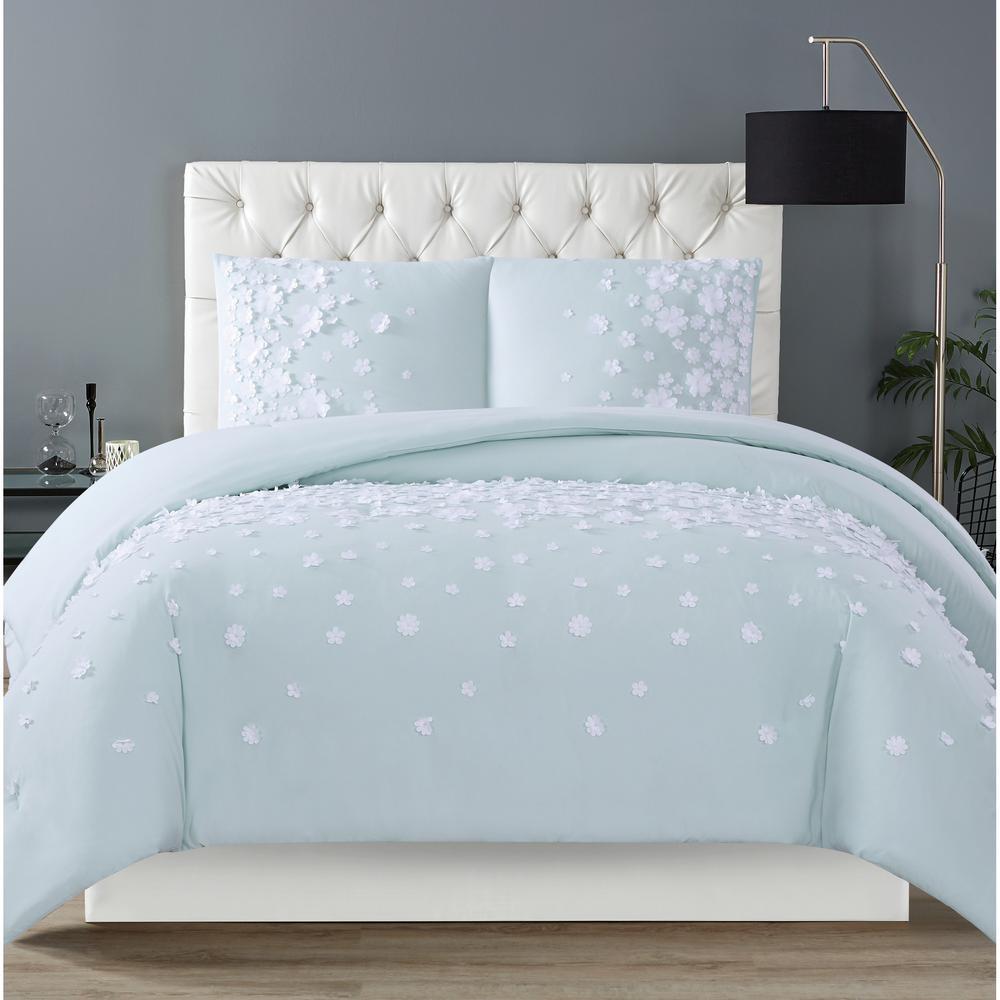 Confetti Flowers 3-Piece Mint King Comforter Set