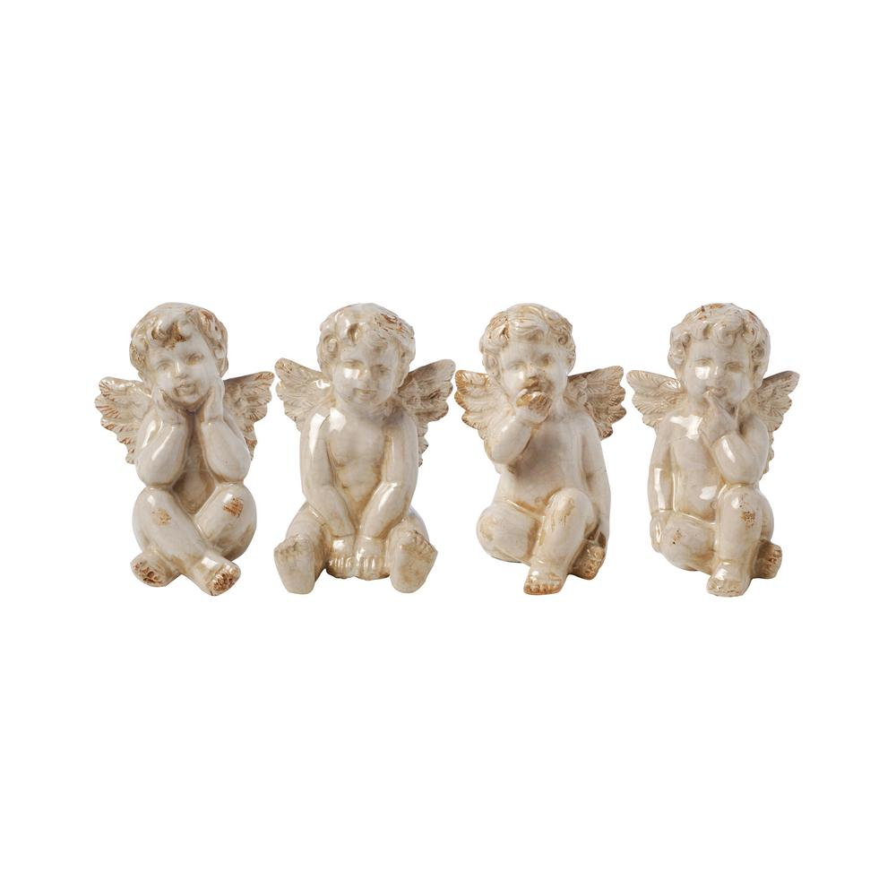 Polyresin Figurines Two Tone Stone 4 Pcs KUSO Set of 4 Cherub Wall Hanging Statues White /& Gold Angel Sculptures
