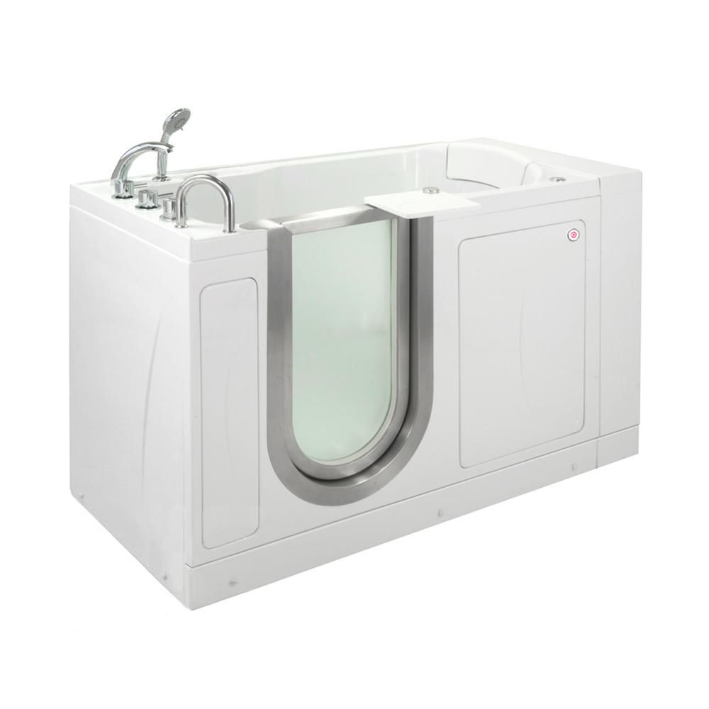 Ella Petite 52 in. Acrylic Walk-In Whirlpool Bathtub in White with Thermostatic Faucet Set, Left 2 in. Dual Drain