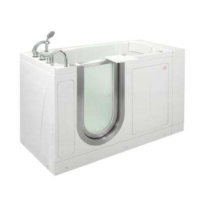 Petite 52 in. Acrylic Walk-In Whirlpool and MicroBubble Air Bathtub in White, Thermostatic Faucet Set, LHS Dual Drain