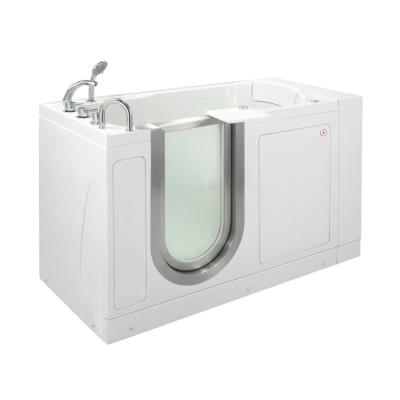 Petite 52 in. Acrylic Walk-In Whirlpool and Air Bath Bathtub in White, Thermostatic Faucet Set, LHS 2 in. Dual Drain