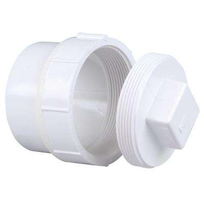 4 in. PVC DWV SPG x F Cleanout Adapter with Plug