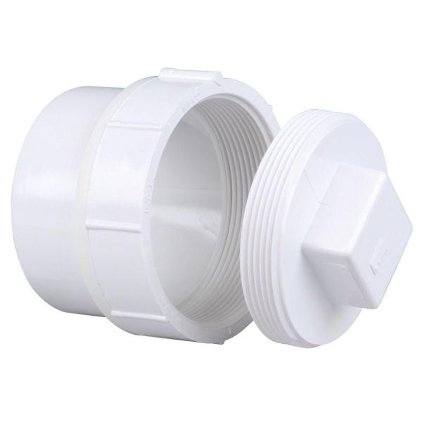 4 in. PVC DWV Spigot x Cleanout with Plug Adapter Fitting