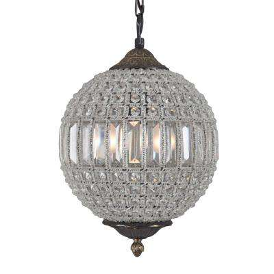 Collins Collection 1-Light Antique Black Chandelier with Crystal Shade