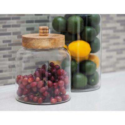 7 in. x 10 in. Cylindrical Clear Glass Jar with Brown Wood Lid
