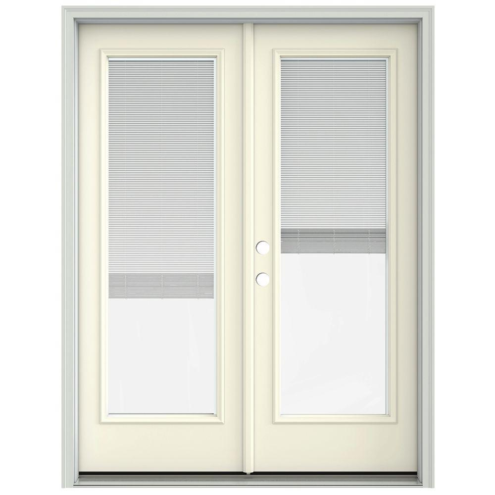 Jeld wen 60 in x 80 in french vanilla prehung right hand for French doors exterior inswing