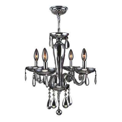 Gatsby Collection 4-Light Polished Chrome Blown Glass Chandelier with Crystals