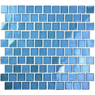 Landscape Danube Blue Linear Mosaic 1 in. x 1 in. Glossy Glass Wall Pool and Floor Tile (0.84 Sq. ft.)