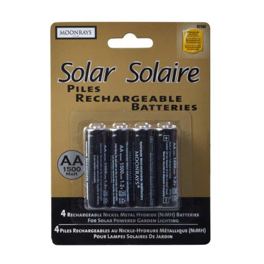 Moonrays Rechargeable 1500 Mah Nimh Aa Batteries For Solar Ed Units 4 Pack