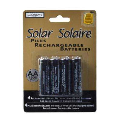 Rechargeable 1500 mAh NiMh AA Batteries for Solar-Powered Units (4-Pack)