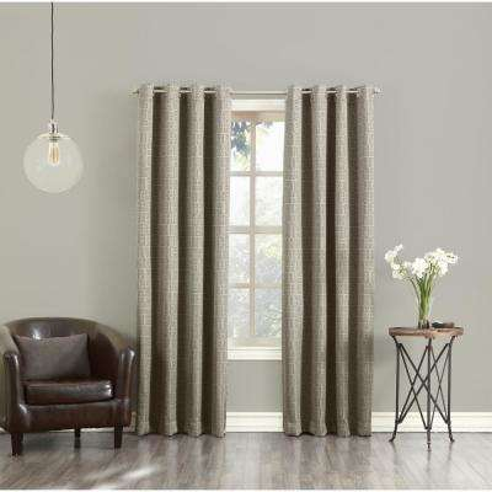 Toulouse Taupe Greek Key Motif Grommet Room Darkening Curtain - 52 in. W x 63 in. L