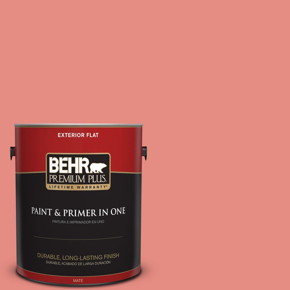 BEHR Premium Plus 1-gal. #190D-5 Peony Pink Flat Exterior Paint