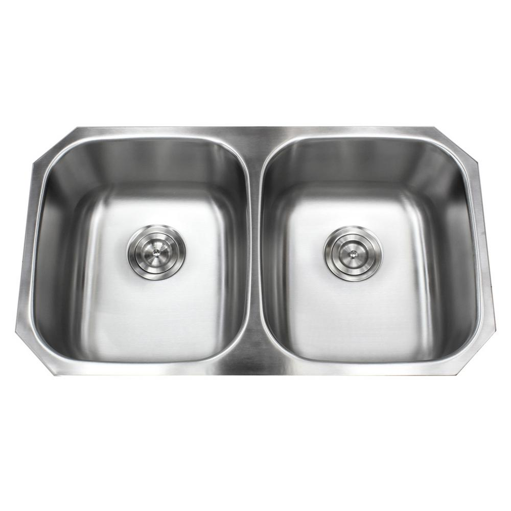 Kingsman Hardware Undermount 18-Gauge Stainless Steel 32 in. x 18-1/2 in. x  9 in. Deep 50/50 Double Bowl Kitchen Sink with Brushed Finish