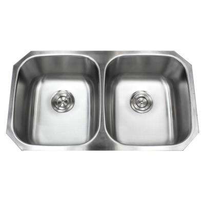 Undermount 18-Gauge Stainless Steel 32 in. x 18-1/2 in. x 9 in. Deep 50/50 Double Bowl Kitchen Sink with Brushed Finish