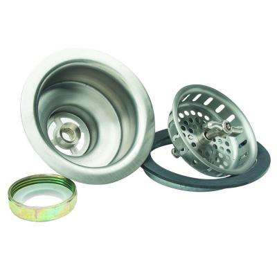 3-1/2 in. Wing Nut Locking Style Basket Strainer with Nut and Washer in Stainless Steel