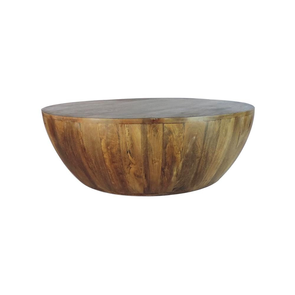 Natural Brown Distressed Excellent Round Side Table