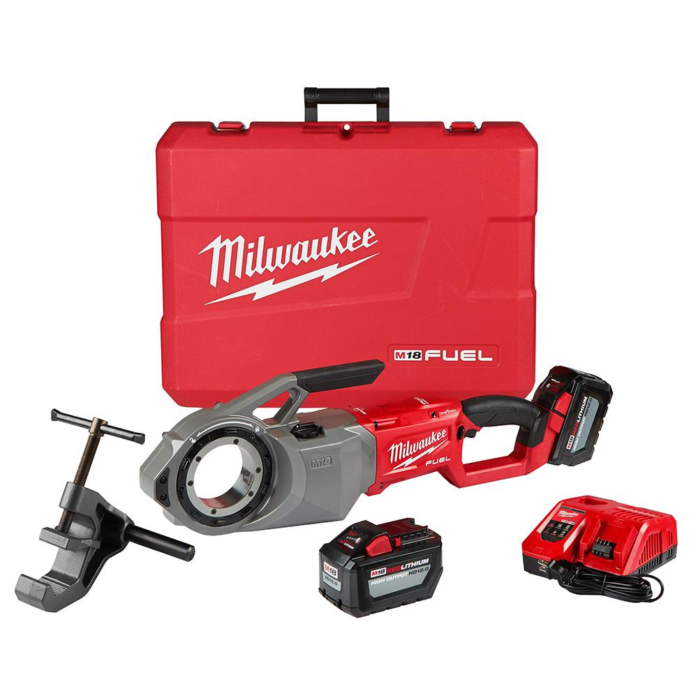 Milwaukee Milwaukee M18 FUEL 1-Key Cordless Brushless Pipe Threader Kit with (2) 12.0Ah Batteries and Case