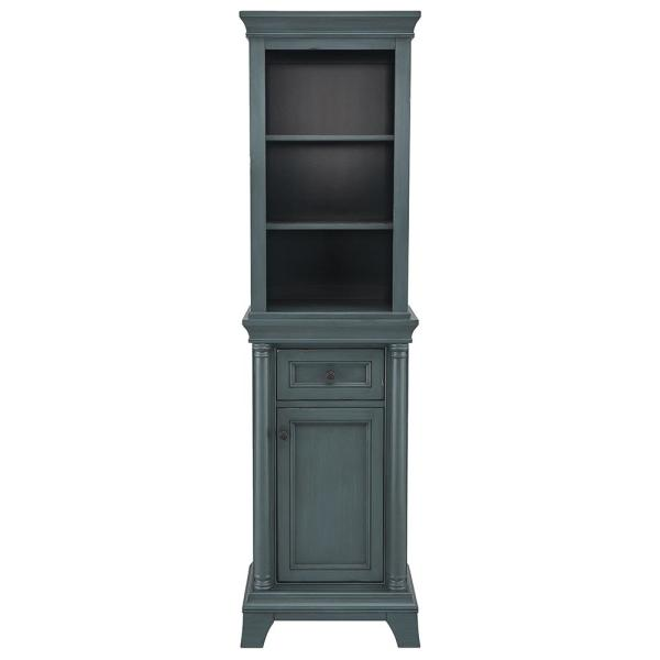 Strousse 21 in. W x 72 in. H Linen Cabinet in Distressed Blue Fog