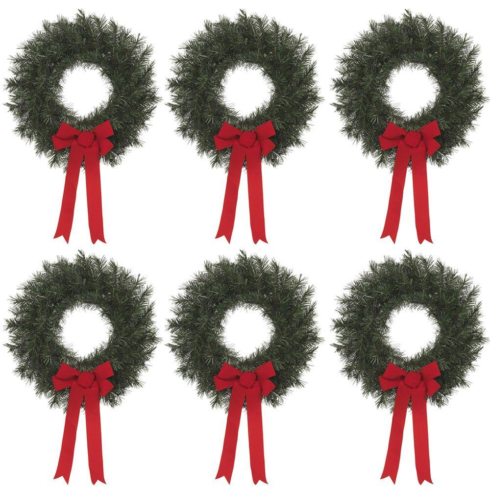 null 20 in. Artificial Canada Pine Wreath with Red Bow (Set of 6)