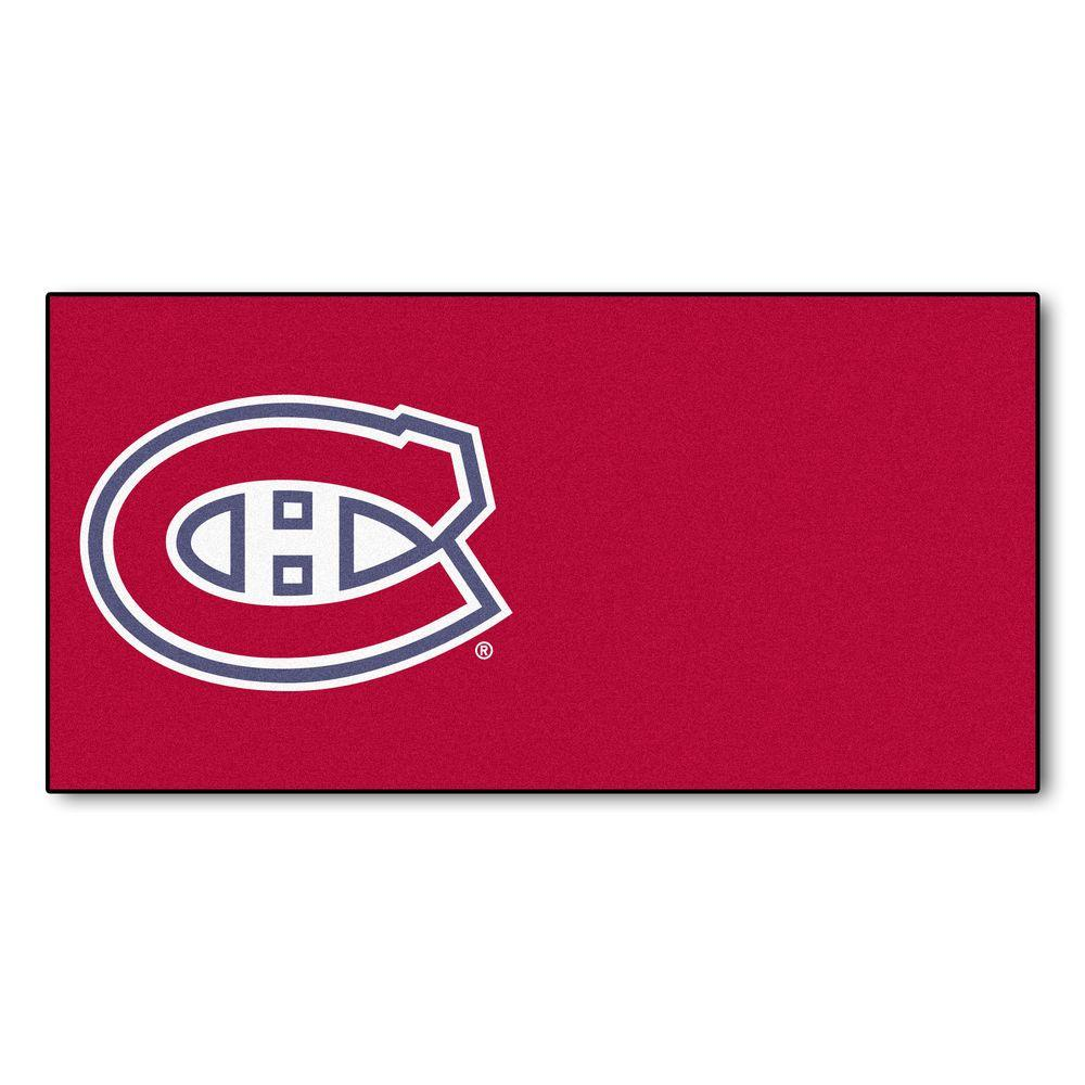 FANMATS NHL - Montreal Canadiens Red Pattern 18 in. x 18 in. Carpet Tile (20 Tiles/Case)