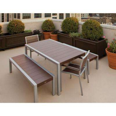 Surf City Textured Silver 5-Piece Bench Plastic Outdoor Patio Dining Set with Vintage Lantern Slats