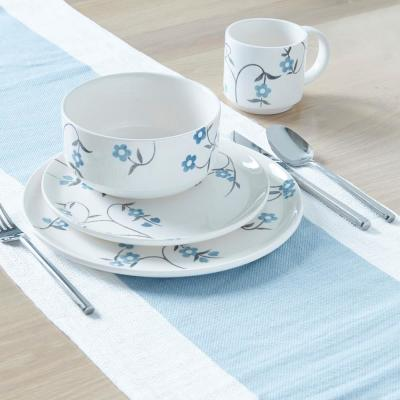 Danish 16-Piece Asian Inspired Blue and white Ceramic Dinnerware Set (Service for 4)