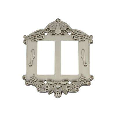 Victorian Switch Plate with Double Rocker in Satin Nickel