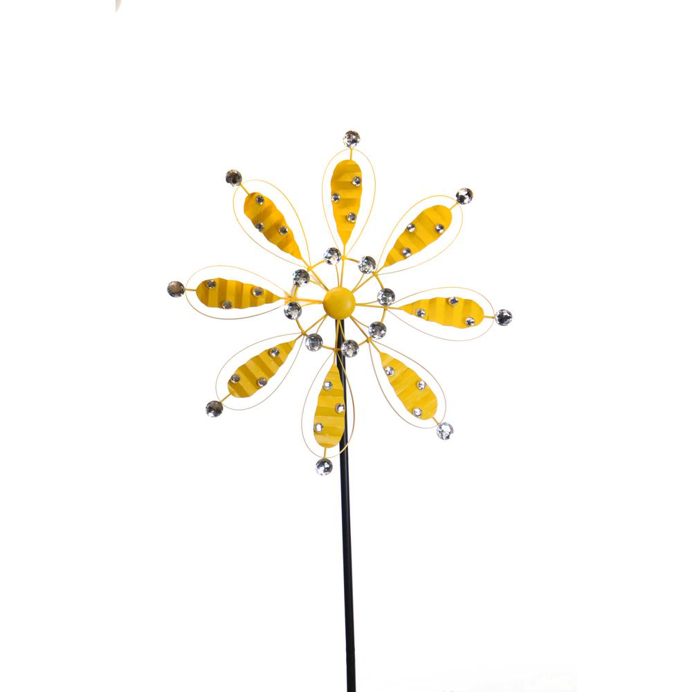 84 in. Yellow Metal Flower Garden Stake