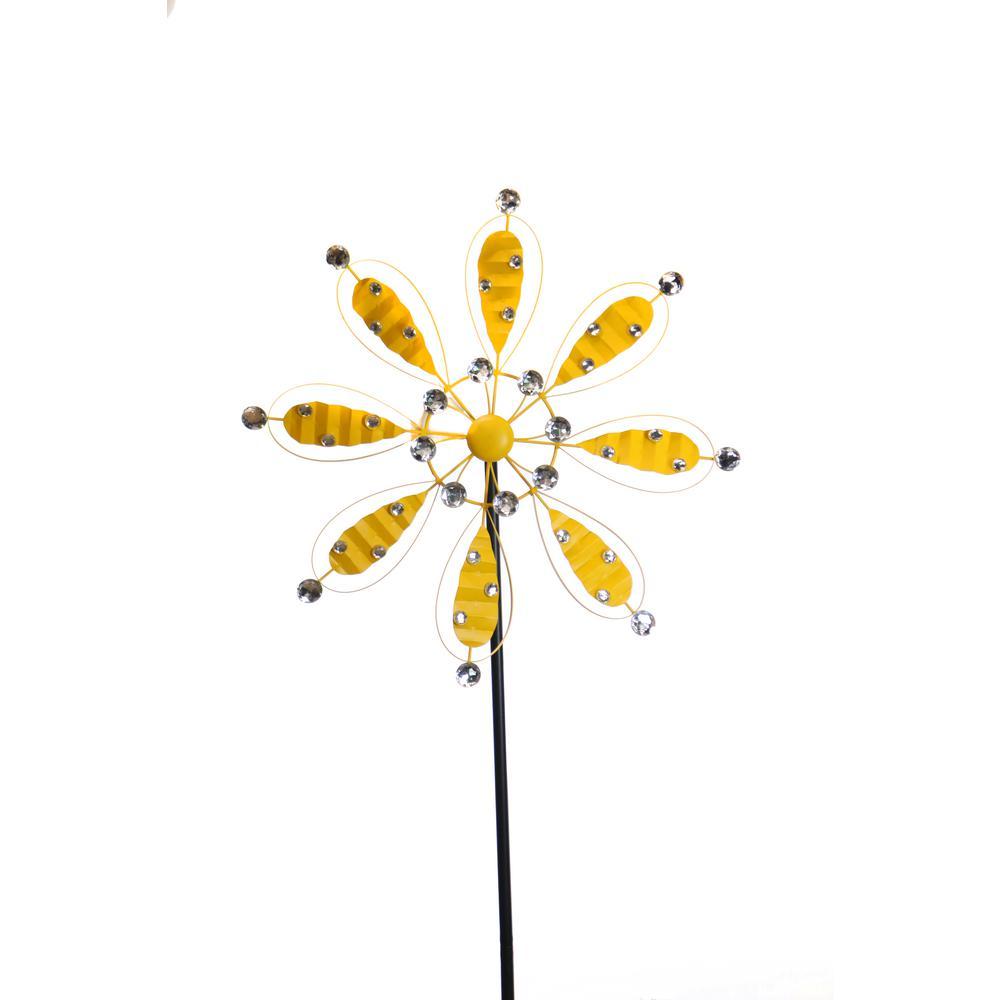 84 in. Yellow Metal Flower Garden Stake