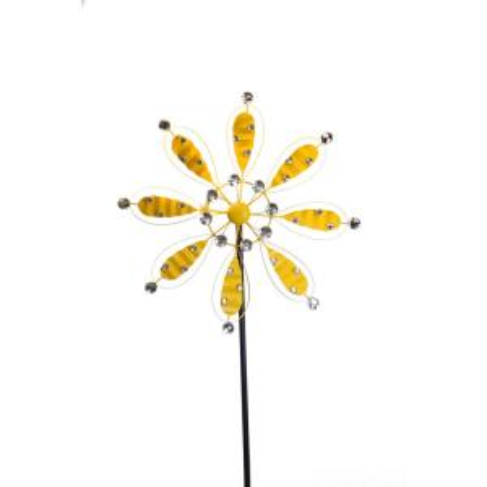 Alpine 84 inch Yellow Metal Flower Garden Stake by Alpine