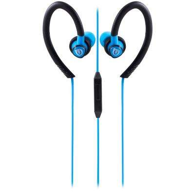 Sports Clip Earbuds with Mic, Blue