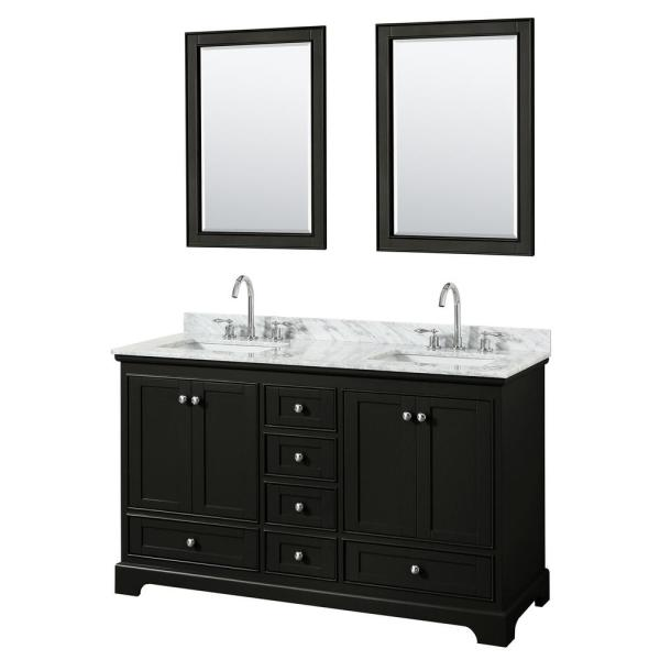 Wyndham Collection Deborah 60 In Double Vanity In Dark Espresso With Marble Vanity Top In White Carrara With White Basins And Mirrors Wcs202060ddecmunsm24 The Home Depot