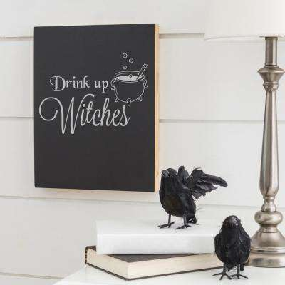 14 in. L x 11 in. W Drink Up Witches Halloween Chalkboard