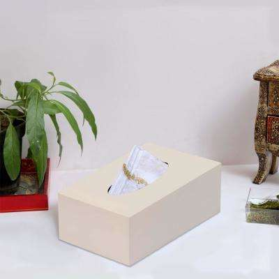 Rectangular Wooden Tissue Box Holder in White