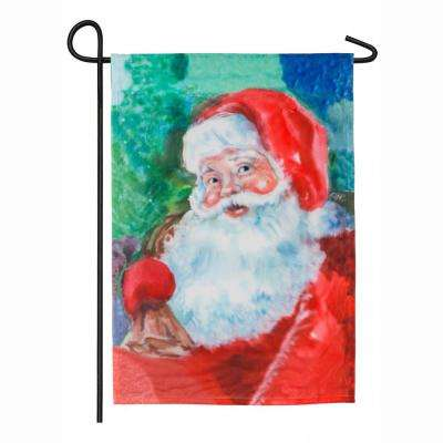 18 in. x 12.5 in. Watercolor Santa Garden Organza Flag