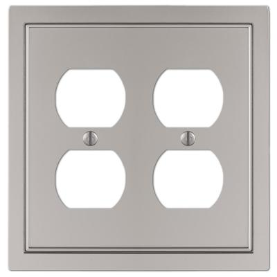 Averly 2 Gang Duplex Metal Wall Plate - Satin Nickel