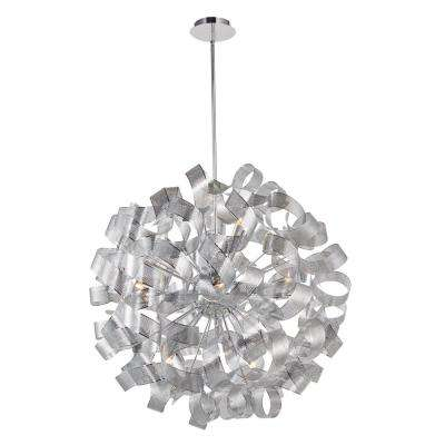 12-Light Chrome Mesh Leaves Chandelier
