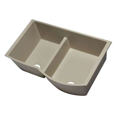Undermount Granite Composite 33 in. 35/65 Double Bowl Kitchen Sink in Biscuit