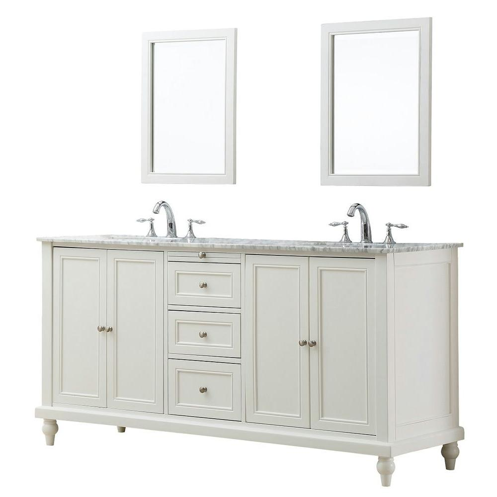 Direct vanity sink Classic 70 in. Double Vanity in Pearl White with Marble Vanity Top in Carrara White and Mirrors