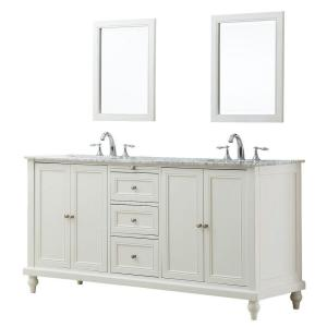 Direct vanity sink Classic 70 inch Double Vanity in Pearl White with Marble Vanity Top in Carrara White and Mirrors by Direct vanity sink