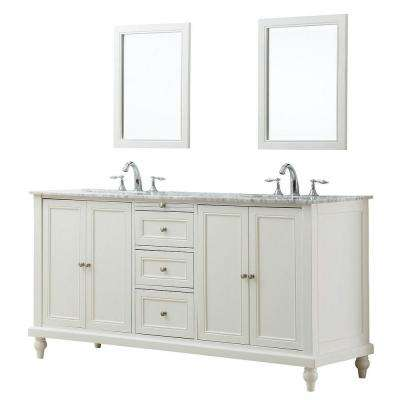 Classic 70 in. Double Vanity in Pearl White with Marble Vanity Top in Carrara White and Mirrors