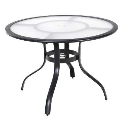 40 in. Commercial Aluminum Round Outdoor Acrylic Top Dining Table in Black