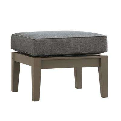 Verdon Gorge Gray Oiled Wood Outdoor Ottoman with Gray Cushion