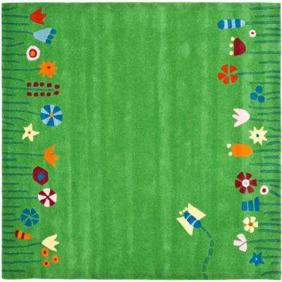 Kids Green/Multi 6 ft. x 6 ft. Square Area Rug